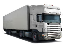 White truck Scania. On white background Stock Images
