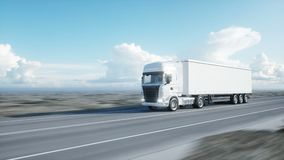 White truck. semi trailer on the road, highway. Transports, logistics concept. 4K realistic loopable animation. White truck. semi trailer on the road, highway stock footage