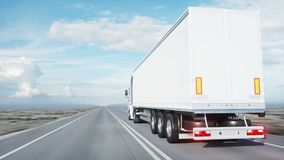 White truck. semi trailer on the road, highway. Transports, logistics concept. 4K realistic loopable animation. White truck. semi trailer on the road, highway stock video