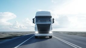 White truck. semi trailer on the road, highway. Transports, logistics concept. 4K realistic loopable animation. White truck. semi trailer on the road, highway stock video footage
