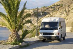 White truck in south Crete Royalty Free Stock Photography