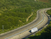 White Truck on Spanish Motorway A52 Stock Images