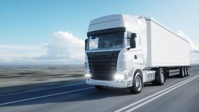 White truck. trailer on the road, highway. Transports, logistics concept. 3d rendering.