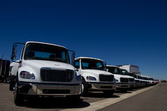 White Trucks At Dealership No Markings Royalty Free Stock Photo