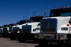 White Trucks At Dealership No Markings Stock Photo