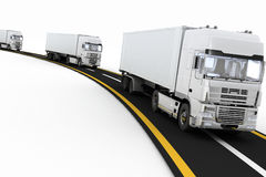 White Trucks on freeway Royalty Free Stock Photo