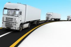 White Trucks on freeway. Stock Image