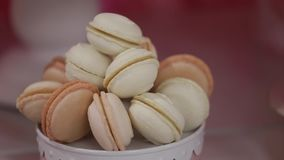 White truffle macaroons in plate.  stock footage