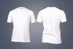 White Tshirt Template. Front and back view white tshirt template for your design on dark background Royalty Free Stock Images
