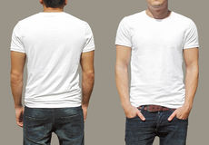 White tshirt on a young man template Royalty Free Stock Images