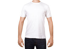 White Tshirt on Young Man Stock Image