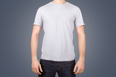 White Tshirt on Young Man Stock Photo