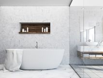 White tub in a concrete wall bathroom. Luxury white bathroom interior with a marble floor and a white tub with a large mirror next to it. A shelf with shampoo vector illustration