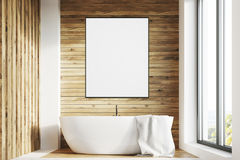 White tub, wooden room, poster, front Royalty Free Stock Photography