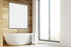 White tub, wooden room, poster, side Stock Image