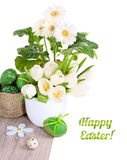 White tulips, gerberas and Easter eggs on wood isolated on white Stock Image