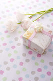 White tulips and gift box Stock Photo