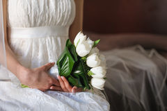 White tulips in hands of  bride. Bouquet of white tulips in hands of the bride in the room with natural light. Brown background with blurred a bridal veil in Stock Photo