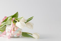 White tulips and marshmallow Royalty Free Stock Photography