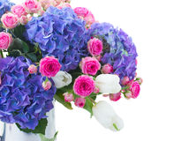 White tulips, pink roses and blue hortensia flowers Stock Images