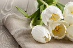White tulips on rustic wood table Royalty Free Stock Image