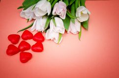 White flowers tulips with red hearts on pink background stock photo