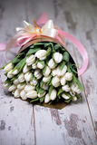 White tulips on white wooden background. Pink ribbon Stock Photography