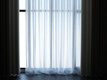 White Tulle curtains and dark floor Stock Photos