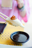 White tuna sushi and salmon roe Royalty Free Stock Photos