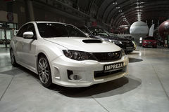 White tuned car: Subaru Impreza Royalty Free Stock Photos