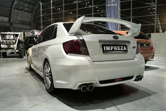White tuned car: Subaru Impreza Royalty Free Stock Photography