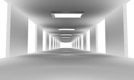 White tunnel. 3d render. White tunnel with lights. 3d render Royalty Free Stock Photos