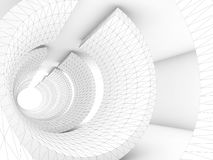 White tunnel with 3d wire-frame structure. White tunnel with wire-frame structure lines, Abstract dark digital background, 3d render illustration Stock Image