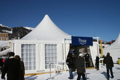 White turf Press Tent Stock Images