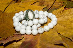 White Turquoise Beads Royalty Free Stock Images