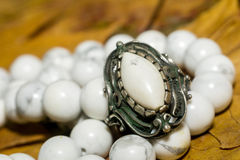 White Turquoise Beads Royalty Free Stock Photography