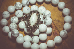 White Turquoise Beads Retro Royalty Free Stock Photography
