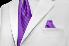 White tuxedo with purple tie and vest Royalty Free Stock Photos