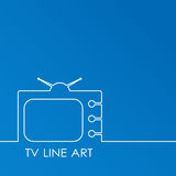 White TV on blue background, abstract line art  illustration.  concept Stock Images