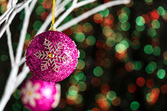 White twigs with Christmas tree baubles Stock Images
