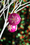White twigs with Christmas tree baubles Stock Image