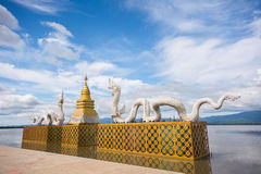 White Twin Naga and Golden pagoda at Kwan Phayao(Phayao lake),Th Royalty Free Stock Photo
