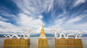White Twin Naga and Golden pagoda at Kwan Phayao(Phayao lake),Th Royalty Free Stock Image