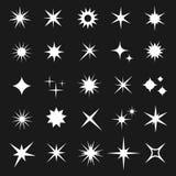 White twinkling vector stars isolated on dark background. Shining glitter star icons set illustration Stock Images