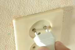 White two-pin plug Royalty Free Stock Images