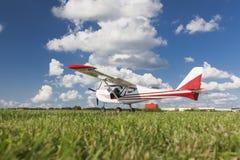 White two-seater mini plane Royalty Free Stock Images