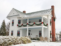 White Two Story House Decorated for Christmas royalty free stock photo