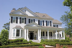 White Two Story with Porch Royalty Free Stock Images