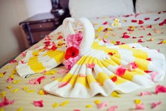 White two towel swans and red rose on the bed in Honey moon suit Royalty Free Stock Photography