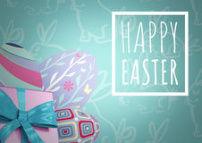 White type in box and pink gift and purple eggs against teal easter pattern Royalty Free Stock Photos